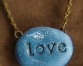 Love  Pendant  Necklace Blue Polymer Clay Inscription Word Typography