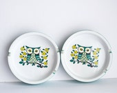 Ceramic Owl Ashtray Teal Turquoise Set of 2