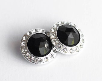 1980s Round Earrings Black and Silver Plastic Large  Statement Clip On Vintage New Year's Party