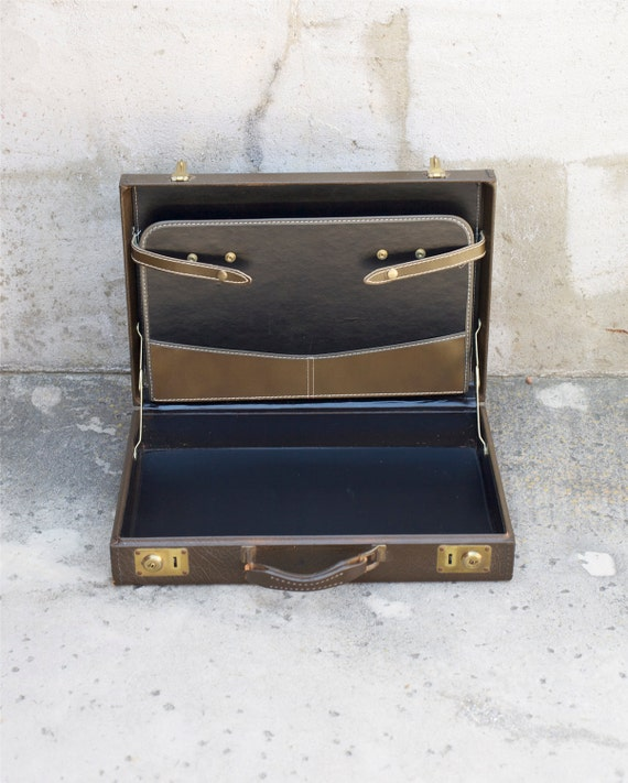 Brown Leather Briefcase Dark Olive Green Luggage Suitcase Office Mad Men