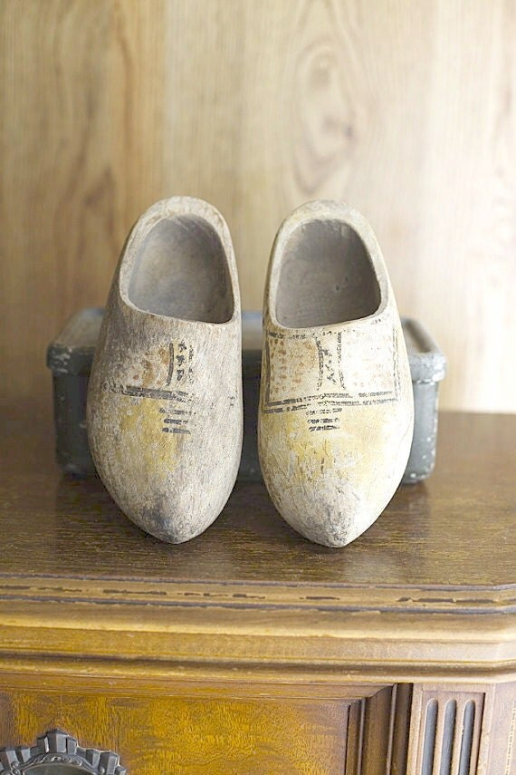 Vintage Wooden Shoes Dutch Small Decor Shabby Chic Cottage Decor