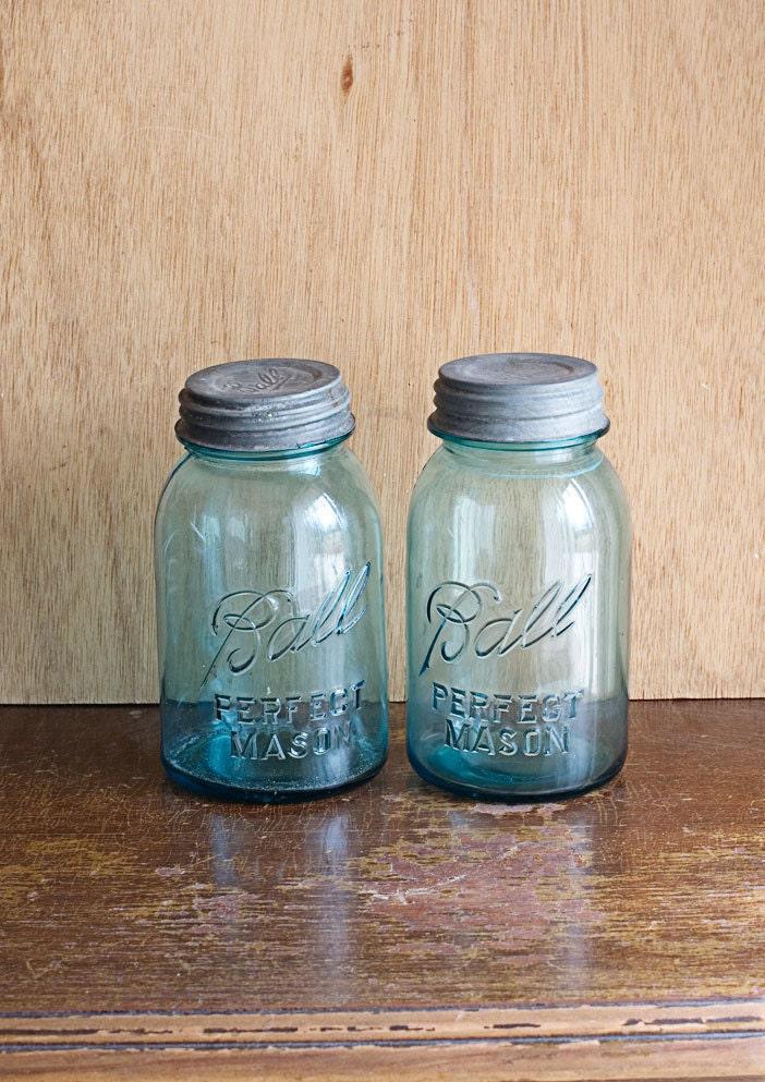 blue mason jars ball vintage. Black Bedroom Furniture Sets. Home Design Ideas