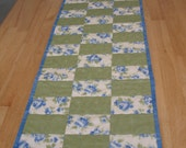 Green Blue White Floral Table Runner