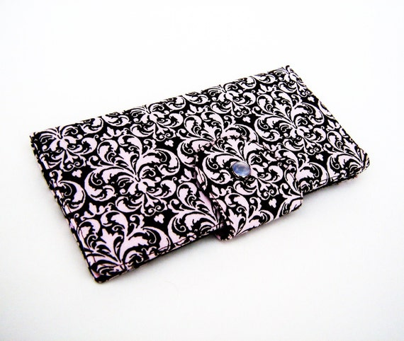 Long Clutch Wallet- Elegant Pink and Brown Damask