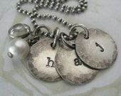 Rustic Hand Stamped Sterling Silver Initial Charm Necklace