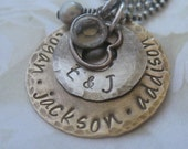 Personalized Hand Stamped Jewelry - Antiqued Brass and Sterling Silver Family Necklace