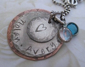 Sterling Silver and Copper Rustic Hand Stamped Mommy Necklace