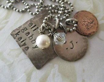 Rustic Sterling Silver and Copper Hand Stamped Family Charm Necklace