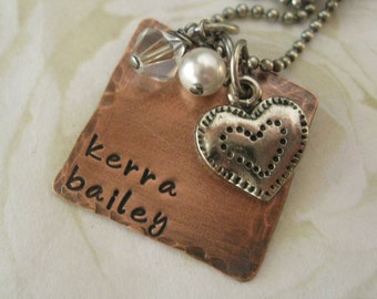 Rustic Copper Square Mommy Necklace with Swarovski Charms