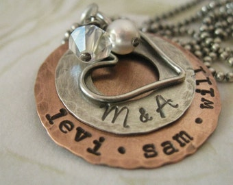 Personalized Rustic Hand Stamped Copper and Sterling Silver Family Style Mommy Necklace