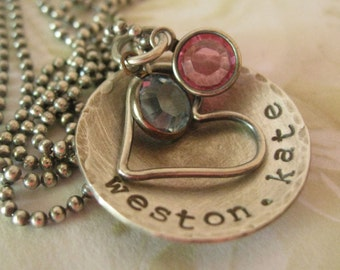 Mother's Day Birthstone Necklace -- Personalized Mother's Day Jewelry -- Hand Stamped Rustic Necklace