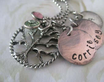 Mixed Metals Family Tree Rustic Hand Stamped Personalized Charm Necklace