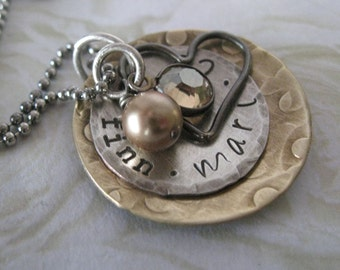 Sterling Silver and Antiqued Brass Vintage inspired Personalized Hand Stamped Necklace