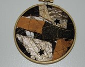 Gilded Night Small Gold and Black Fabric Wall Art Witch Bottle Fiber Collage