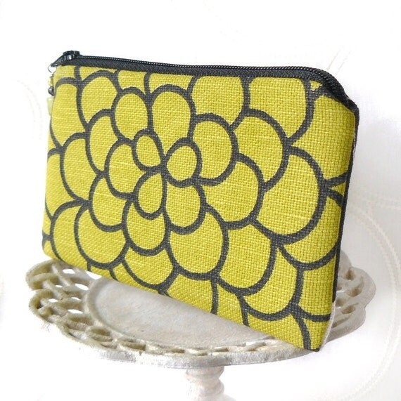 Small Zipper Pouch, Change Purse, Coin Pouch - Chrysanthemum in Chartreuse and Black