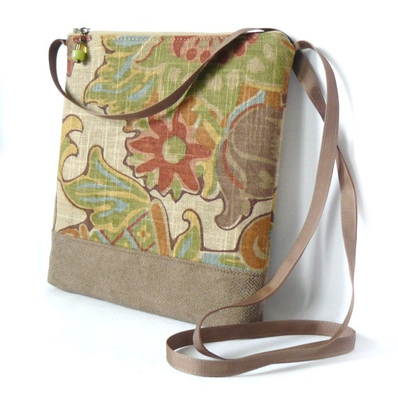 Cross Body Bag, Fabric Hip Bag, Pouch Purse - Rustic Garden in Vintage Style Floral