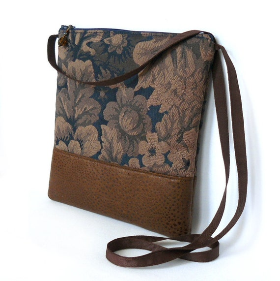 Cross Body Bag, Fabric Hip Bag, Pouch Purse - Floral Tapestry in Navy and Fawn