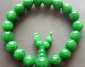 10mm Round Green Jade Beaded Buddhist Prayer Beads Charm Bracelet Stone Mala  T0647