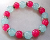 Stretchy Pink And Cyan Jade Separated By Alloy Metal Spacers Beads Bracelet  T1675 - 8giftshop