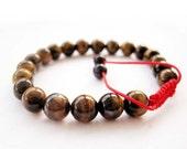 8mm Tiger Eye Round Beads Tibet Buddhist Wrist Mala Bracelet For Meditation  T2660