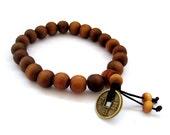 10mm Tibet Buddhist Peach-Wood Prayer Beads Mala Bracelet With Feng-Shui Coin  T2734