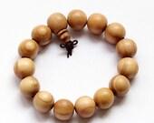 15mm Peach Wood Prayer Beads Tibetan Buddhist Wrist Mala Bracelet  T2770