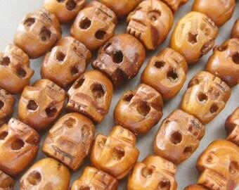 Tibet Buddhist 108 Wood Skull Beads Prayer Mala Necklace 6mm T749