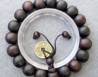 11mm Feng-Shui Coin With Tibetan Buddhist Wood Prayer Beads Mala Rosary Bracelet  T2475
