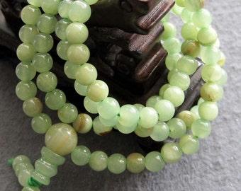 Tibet Buddhist 108 Light Green Stone Prayer Beads Rosary Mala Necklace/Bracelet  ZZ109  6mm