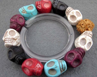 Imitate Multi-Color  Turquoise Carved Skull Head Beads Stretchy Bracelet  T2361