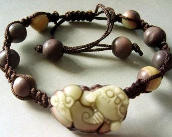 Zipao Jade Pi-Xiu Dragon Bead Beads Bracelet  T2677