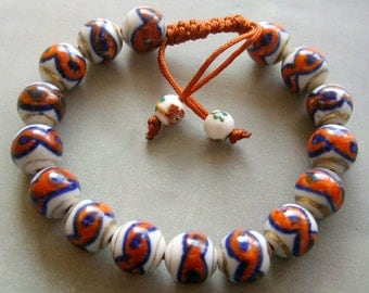 10mm Hand Crafted Chinese Porcelain Beads Bracelet  T1501