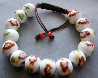 12mm Hand Crafted Flower Chinese Porcelain Beads Bracelet  T2125