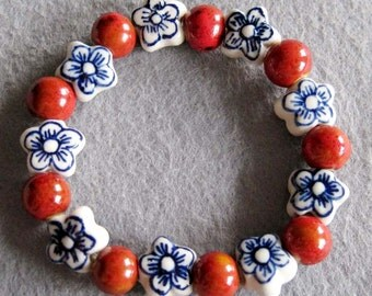 Hand Crafted Flower And Global Porcelain Beads Bracelet  T2277