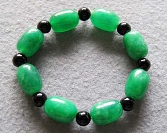Green Gem Stone And Black Agate Beads Charm Beaded Bracelet  T2251