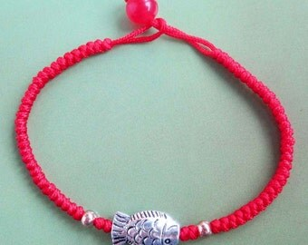 Handcrafted Silvertone Fish Red Silk Cord Bracelet  T2311