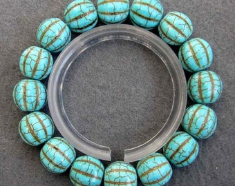 12mm Stretchy Imitate Turquoise Beads Charm Beaded Bracelet Hand String  T2518