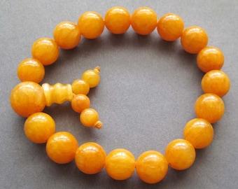 10mm Yellow Jade Gemstone Prayer Beads Tibet Yoga Meditation Mala Rosary Bracelet Wrist  T2611