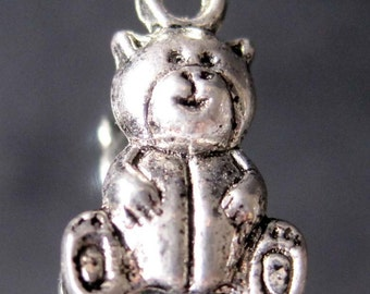50Pcs Alloy Metal Seated-Bear Pendant Beads Finding  ja102