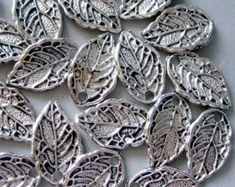 20Pcs Alloy Metal Leaf 2Faces Pendant Loose Beads Finding Supplier Jewelry---20PIeces 15mm x 10mm  ja150