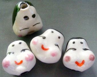 4Pcs/4Pieces Handcrafted Porcelain Big Baby Face Head Beads DIY Finding 17mm x 15mm x 15mm  ja165