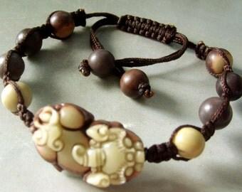 Zipao Jade Fortune Pi-Xiu Dragon Bead Beads Bracelet  T1463