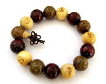 15mm Three Fortune Wood Prayer Stretchy Beads Mala Bracelet Hand String Carved Kwan-Yin Buddha  T2690