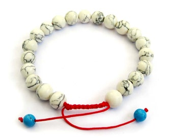 8mm Imitate White Turquoise Beads Tibet Buddhist Wrist Mala Bracelet For Meditation  T2691
