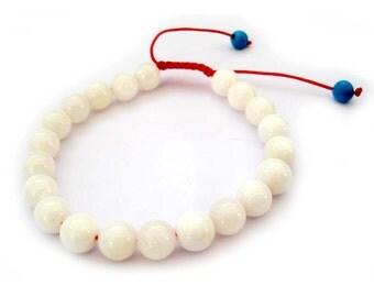 8mm Natural Sea Shell Beads Tibet Buddhist Wrist Mala Bracelet For Meditation  T2694