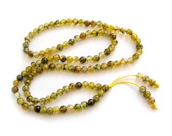 6mm Yellow Dragon Skin Agate 108 Rosary Beaded Tibet Buddhist Prayer Beads Japa Mala  ZZ149