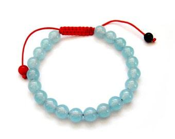 8mm Sky Bule Jade Beads Tibet Buddhist Wrist Mala Bracelet For Meditation  T2705