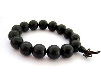 15mm Big Black Sandalwood Rosary Beaded Tibet Buddhist Prayer Beads Mala Bracelet  T2738