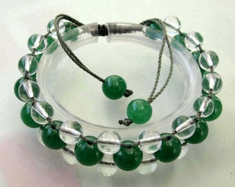 Green Jade And Crystal Quartz Beads Hand Crafted Bracelet  T2509