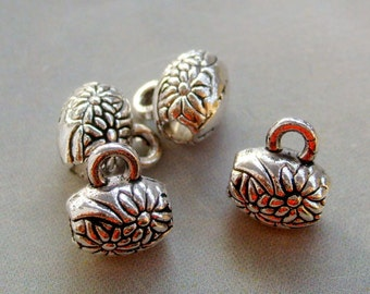 20Pcs Alloy Metal Flower Drum Pendant Spacer Beads Finding For Handwork--20Pieces--9mm x 7mm  ja196